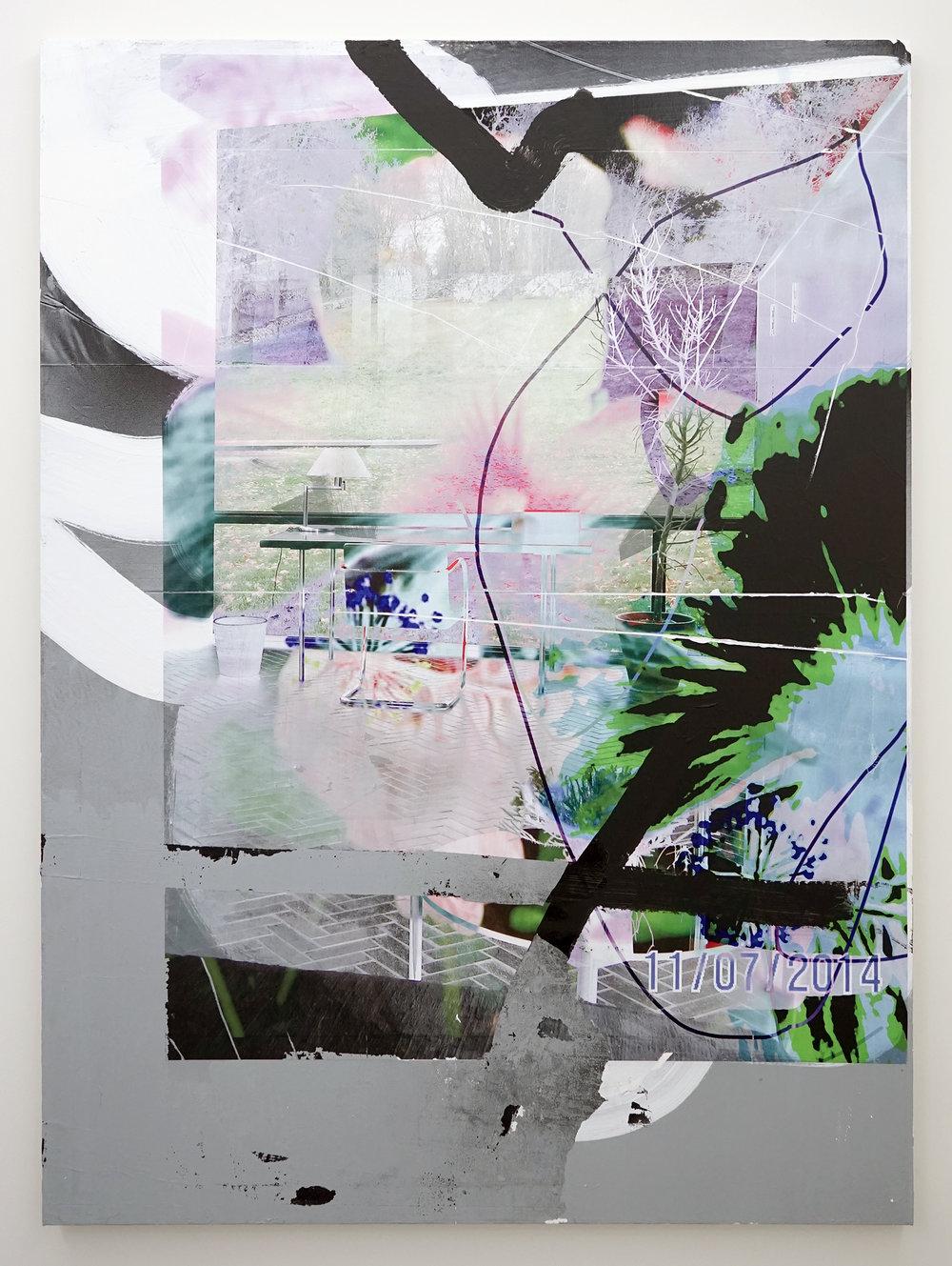"FACUNDO ARGAÑARAZ   Untitled (FA01-17) , acrylic and pigment print on canvas, 66"" x 48"", 2017"
