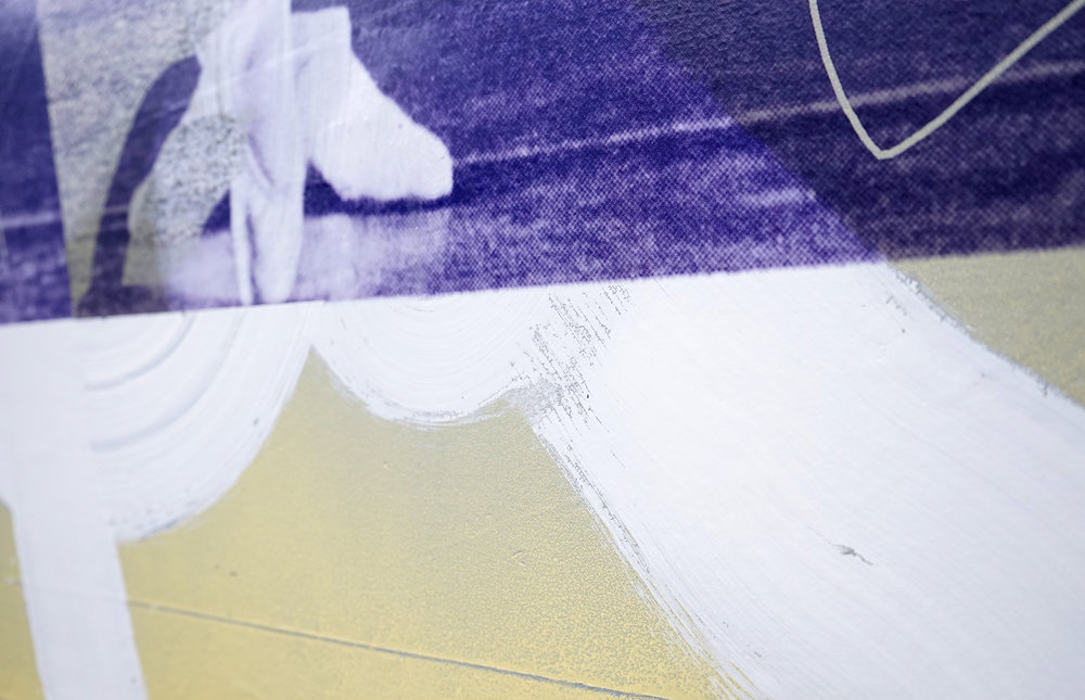 "FACUNDO ARGAÑARAZ   Untitled (FA02-17) , acrylic and pigment print on canvas, 60"" x 44"", 2017"
