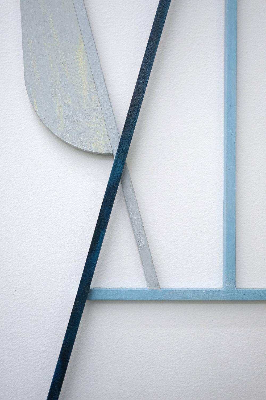 "JONATHAN RUNCIO  (detail) Untitled (JR02-17) , oil on steel, 25"" x 8.5"", 2017"