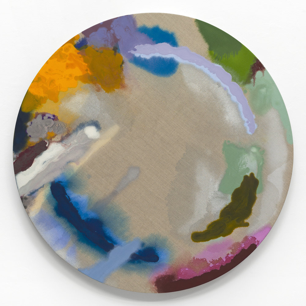 "PAMELA JORDEN   Iris , oil on linen, 44"" diameter, 2017"