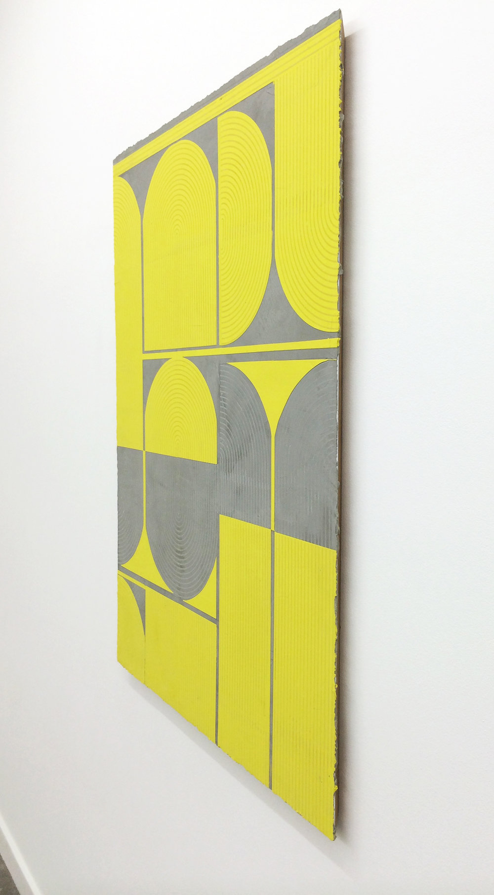 "ELISE FERGUSON  (profile)  Citron , 2016, pigmented plaster on panel, 40"" x 30"""