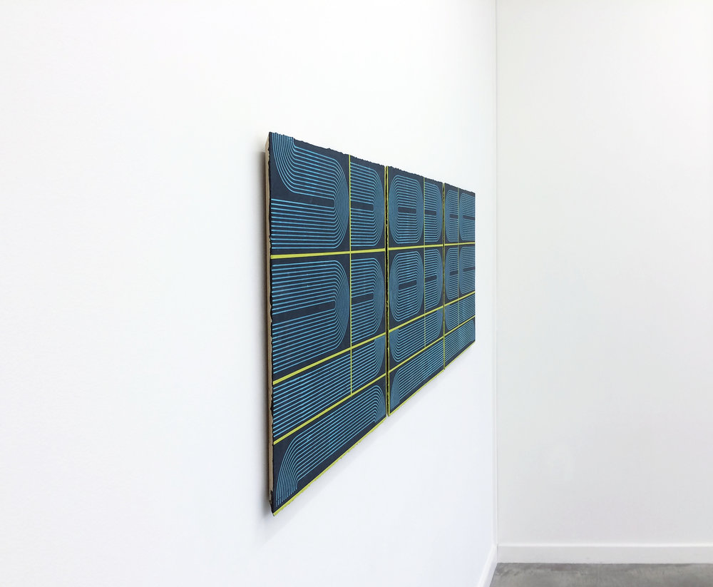"ELISE FERGUSON  (profile)  King Lounge , 2016, pigmented plaster on panel, 24"" x 74"""