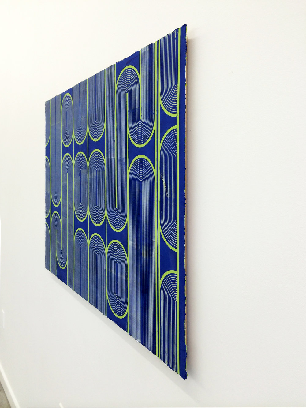 "ELISE FERGUSON  (profile)  Vinyl Gate , 2016, pigmented plaster on panel, 30"" x 40"""