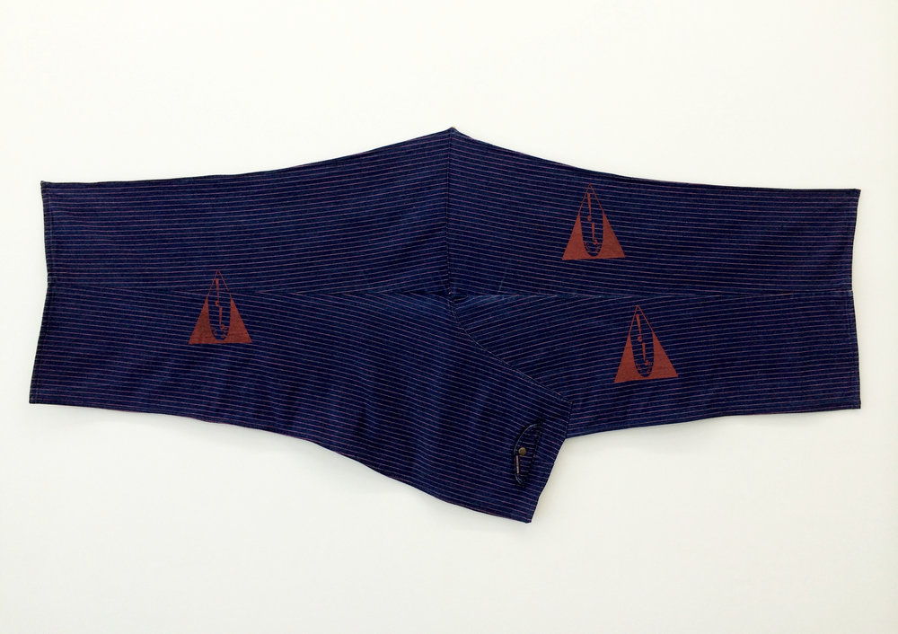 "AMANDA CURRERI   Qui Vive (Be Alert) , 2016, denim, vintage garment, acrylic, thread, 30"" x 60"""