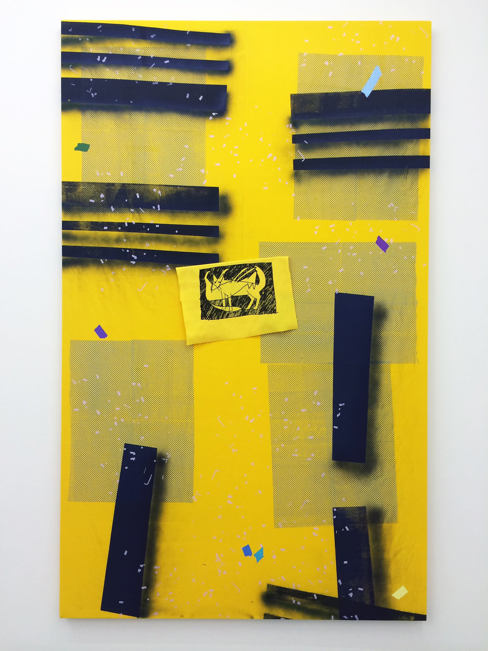 "AMANDA CURRERI   Eff (Yellow) , 2016, acrylic and fabric dye on cotton, 78"" x 48"""