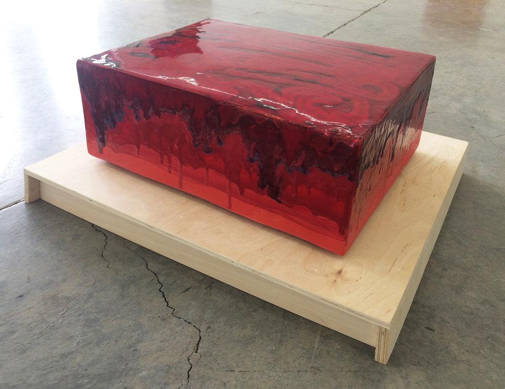 "ERIK SCOLLON   Red Parade, 2016, Stoneware, underglaze and glaze (4 firings), 8"" x 19"" x 14"""