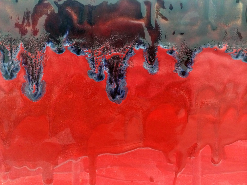 "ERIK SCOLLON  (detail)  Red Parade,  2016, Stoneware, underglaze and glaze (4 firings), 8"" x 19"" x 14"""