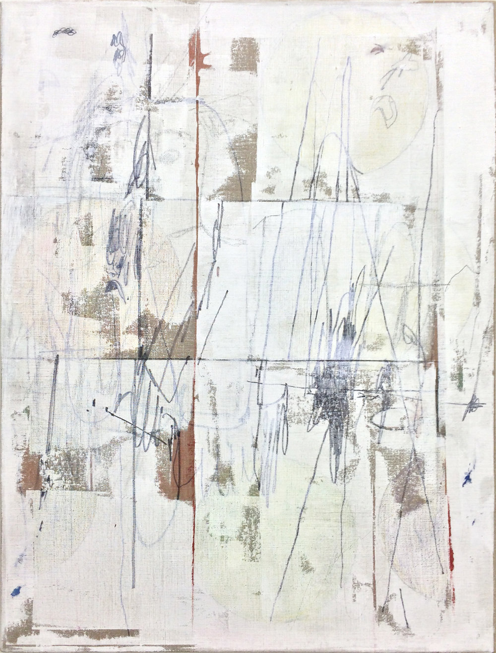 "TED GAHL   Commuters (Strangers' Hands Touching, White) , 2015, oil, acrylic, graphite and colord pencil on linen, 48"" x 36"""