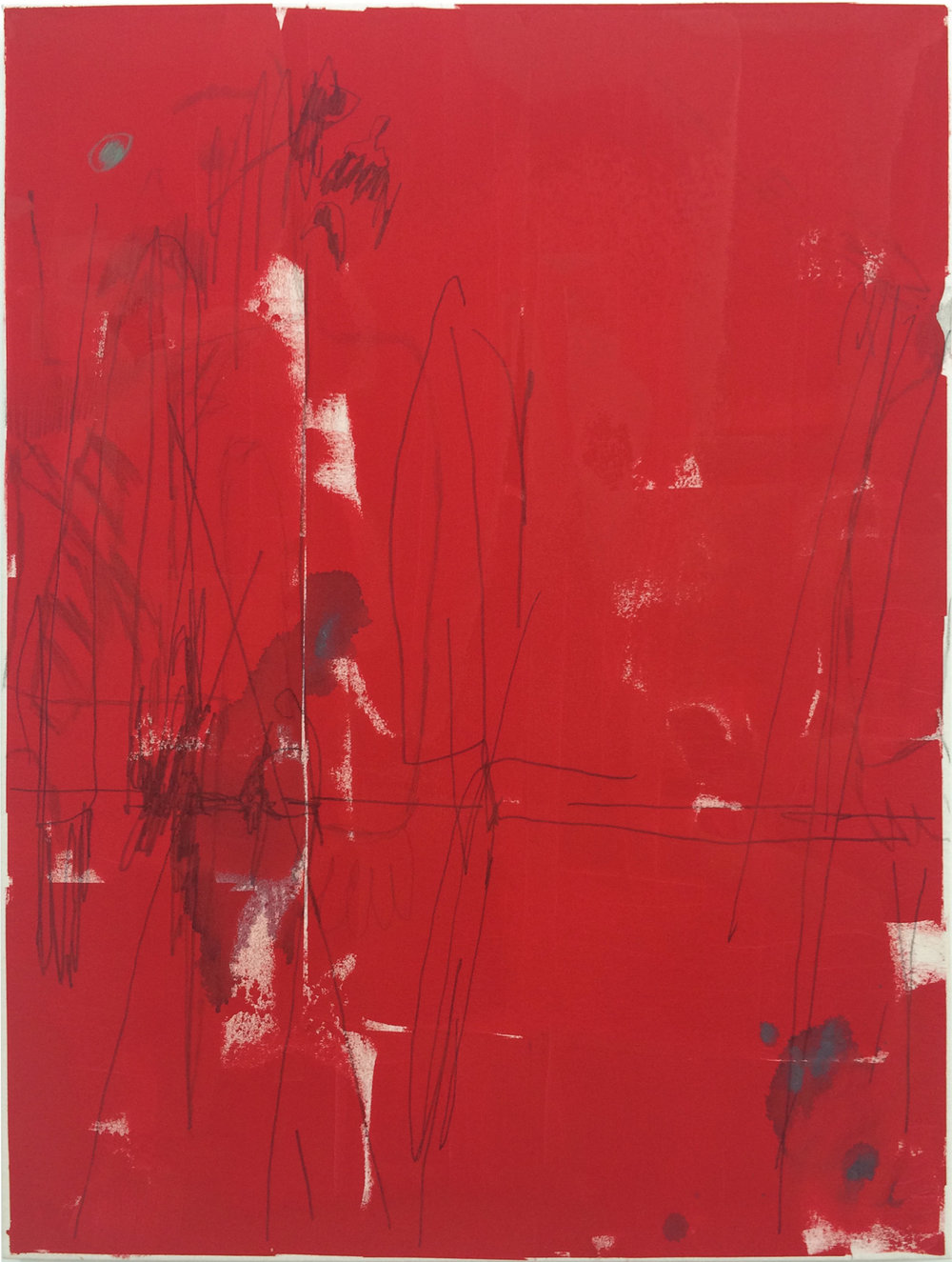 "TED GAHL   Commuters (Strangers' Hands Touching, Red) , 2015, oil, acrylic, graphite and colord pencil on canvas, 48"" x 36"""