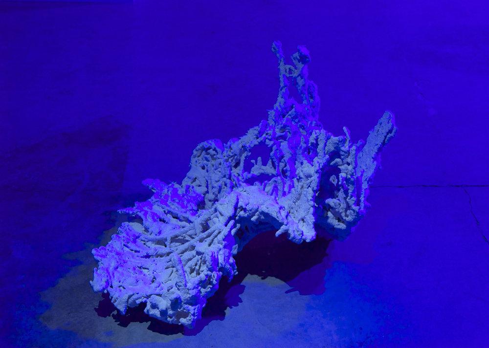 "SOFIA LONDONO   Untitled , 2015, camo netting, hydrocal, silica sand, 29"" x 29"" x 19"""