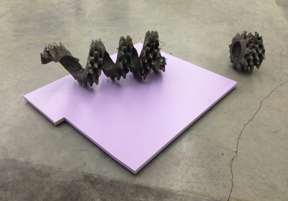 "NEVINE MAHMOUD   Ravel (in two parts) with Color Plane Lilac , 2015, cast aluminum, MDF, laminate, 37"" x 31"" x 12"" and 10"" x 10"" x 6"""