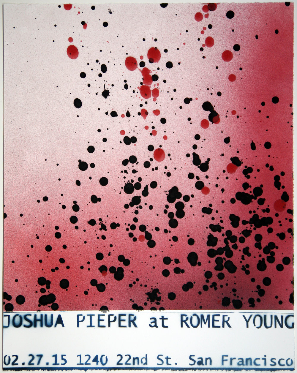 "JOSHUA PIEPER   Poster 4 , 2015, spray enamel on cotton rag with frame, 21"" x 17"""