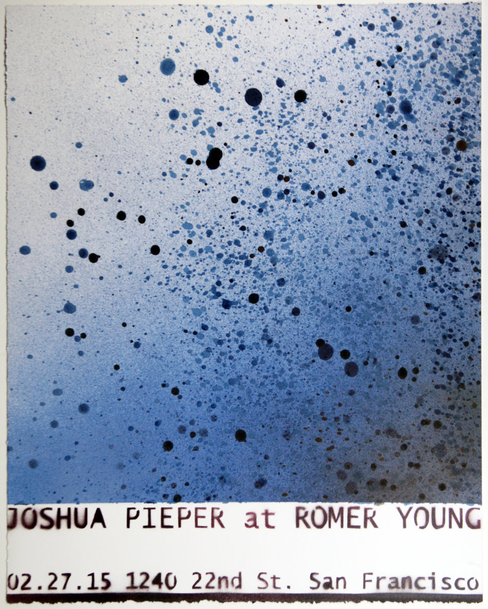 "JOSHUA PIEPER   Poster 1 , 2015, spray enamel on cotton rag with frame, 21"" x 17"""