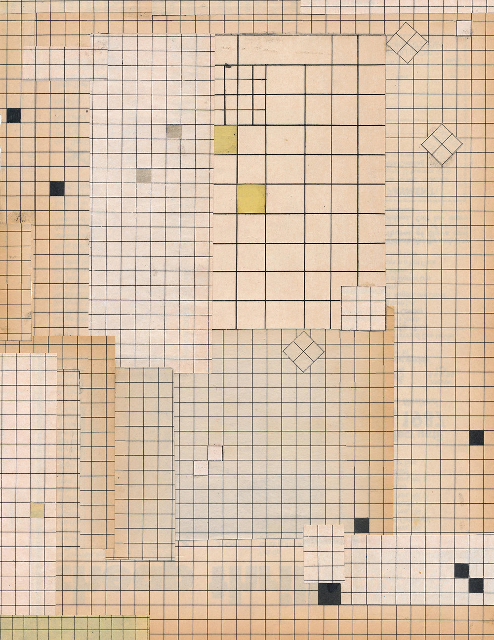 "GWENAËL RATTKE   Grid Concepts , collage on paper, 13.25"" x 10.75"", 2015"