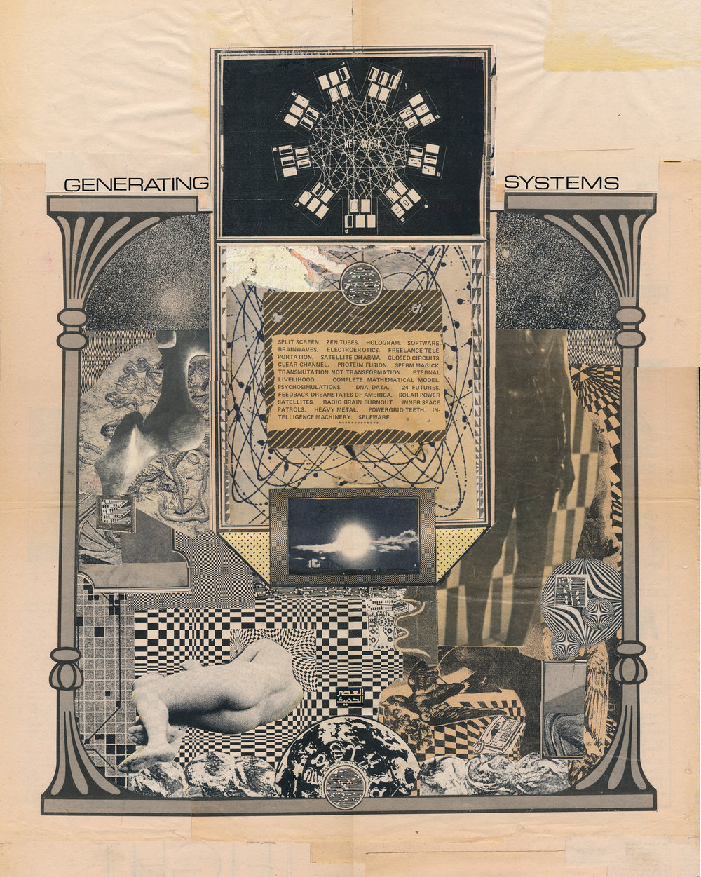 "GWENAËL RATTKE   Generating Systems , collage on paper, 22.5"" x 18.5"", 2014"
