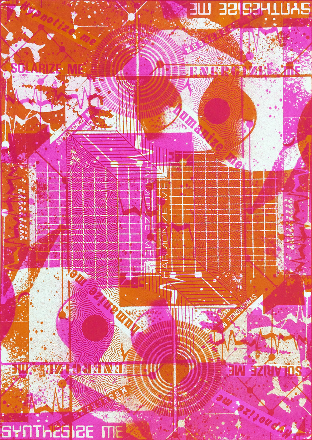 "GWENAËL RATTKE   Synthesize Me , unique silkscreen on paper (1 of 1), 30.25"" x 22.5"", 2014"