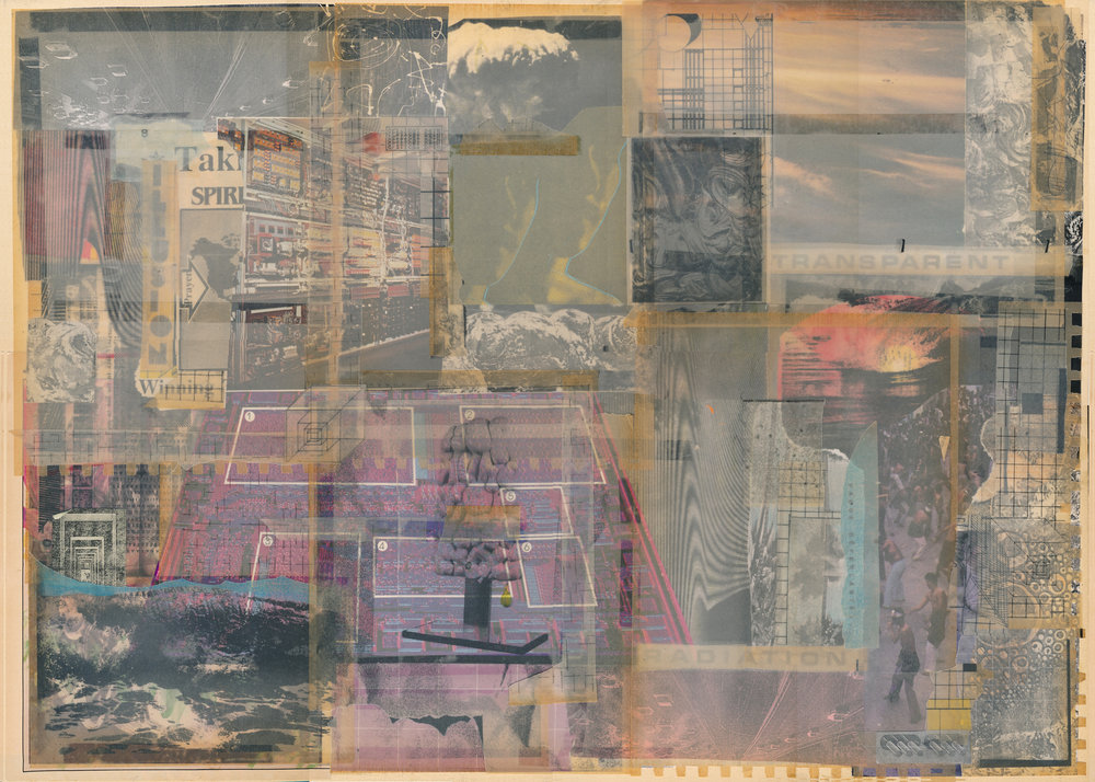 "GWENAËL RATTKE   Transparent Radiation , collage on board, 30.25"" x 22.5"", 2014"