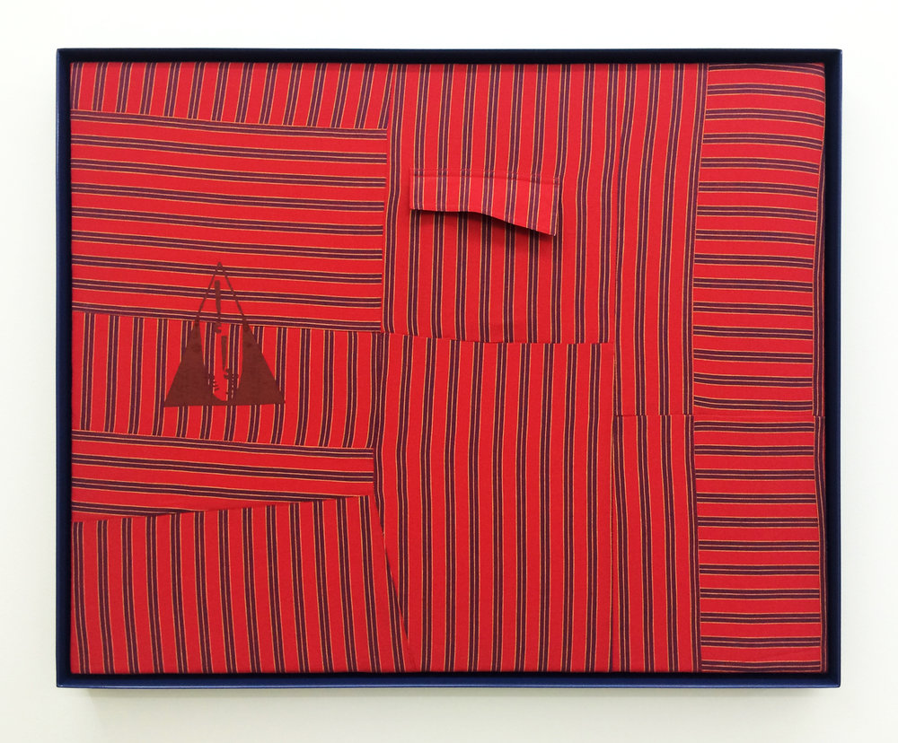 "AMANDA CURRERI  Qui Vive (Be Alert!), Red , 2016, vintage garment, acrylic, thread, cotton batting and powder coated aluminum frame, 24.5"" x 30.5"""