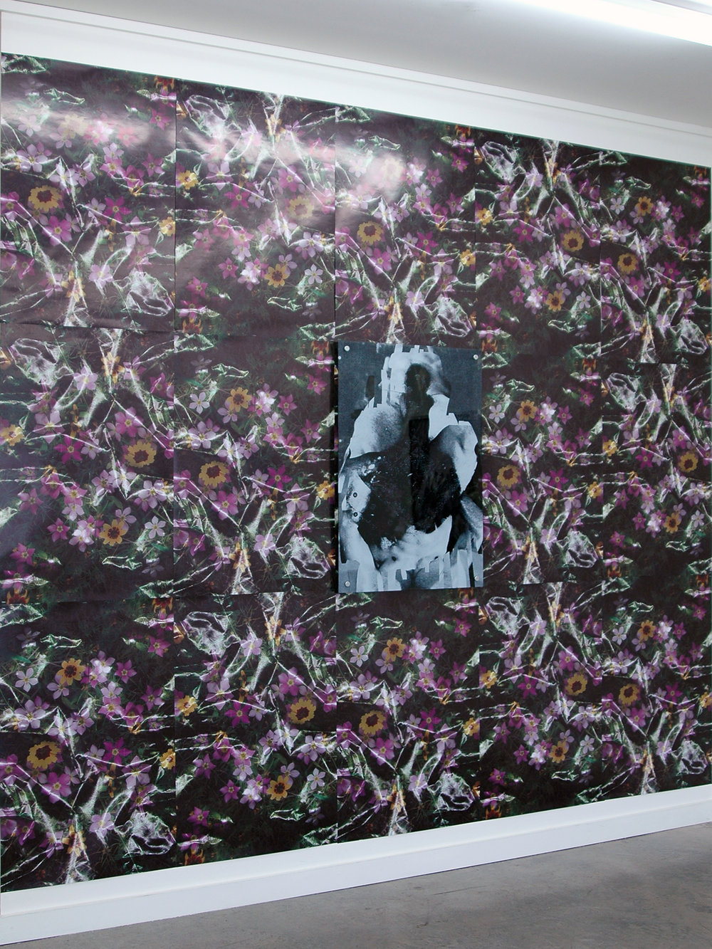 "DERIC CARNER   Our Lady of the Flowers,  wall installation with print on acrylic and standoffs (36"" x 24""), 120"" x 120"", 2014"