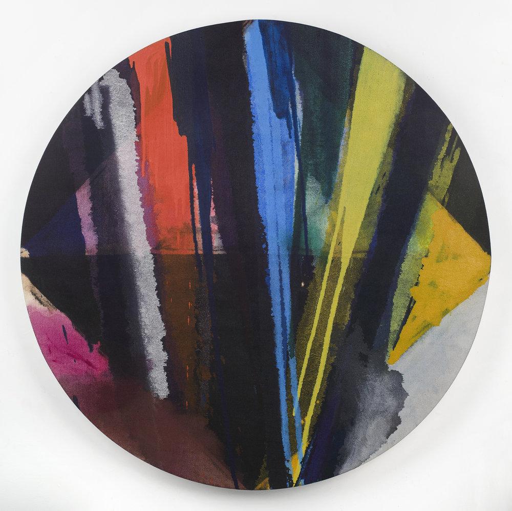 """PAMELA JORDEN   Untitled , oil on linen 34"""" diameter, 2014"""