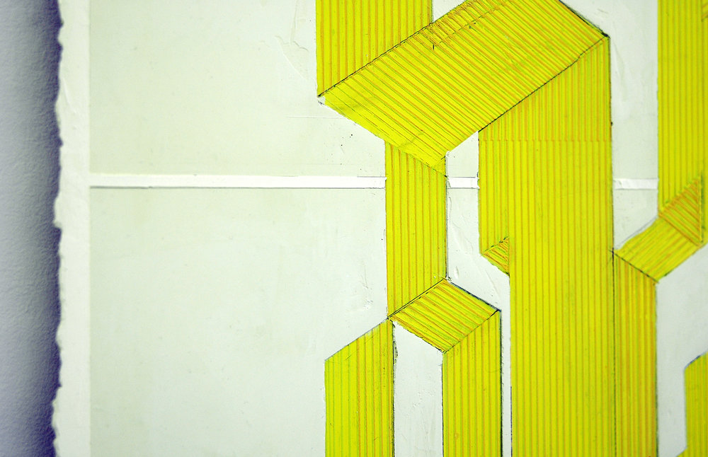 "ELISE FERGUSON  (detail)  Table , pigmented plaster on MDF panel, 36"" x 24"", 2014"