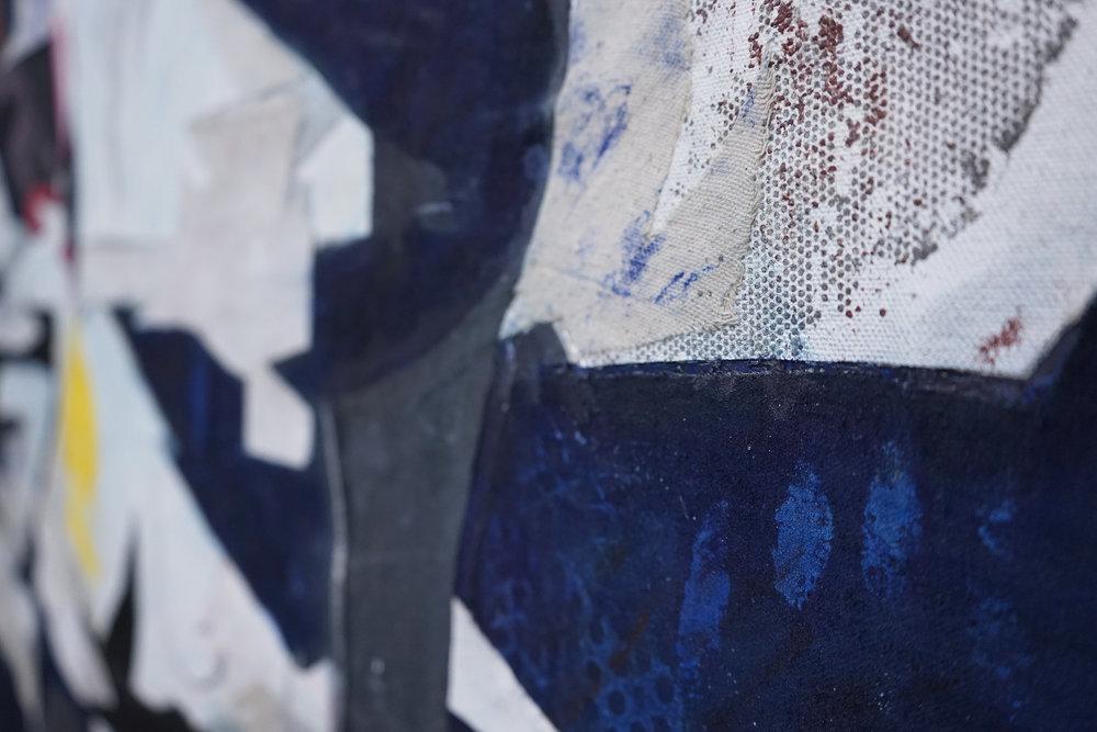 "RYAN WALLACE  (detail) Lenakaeia 1 , oil, enamel, acrylic, pigment, cold wax, canvas, linen, rubber, aluminum, fiberglass, 48"" x 64"", 2017"