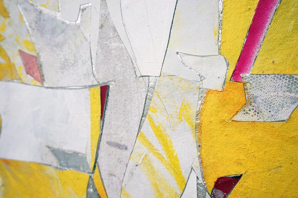 """RYAN WALLACE  (detail) Untitled (Lenakaeia) 1 , oil, enamel, acrylic, vinyl, aluminum, fiberglass, paper, canvas, linen, 40"""" x 30"""", 2017"""