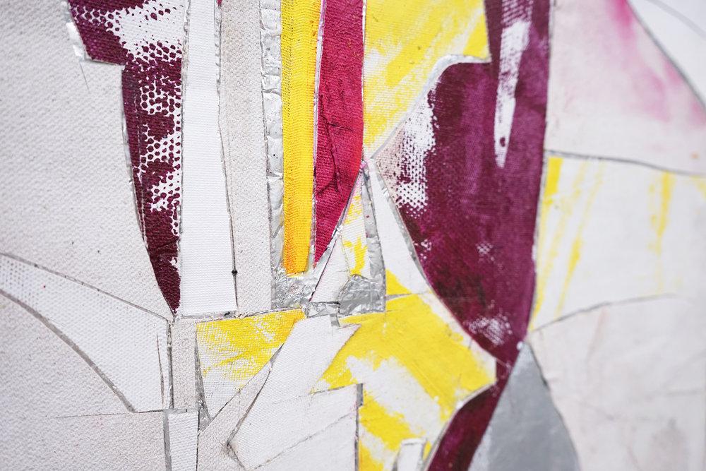 """RYAN WALLACE  (detail) Untitled (Lenakaeia) 2 , oil, enamel, acrylic, vinyl, aluminum, fiberglass, paper, canvas, linen, 40"""" x 30"""", 2017"""