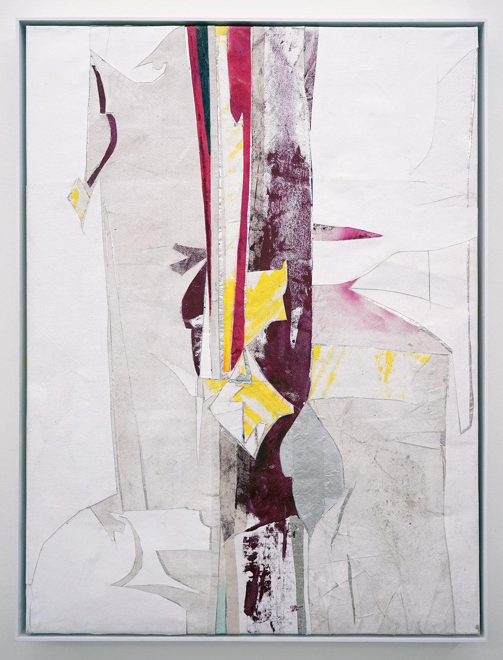 """RYAN WALLACE   Untitled (Lenakaeia) 2 , oil, enamel, acrylic, vinyl, aluminum, fiberglass, paper, canvas, linen, 40"""" x 30"""", 2017"""