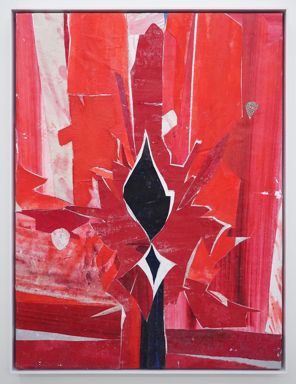 """RYAN WALLACE   Untitled (Lenakaeia) 4 , oil, enamel, acrylic, vinyl, aluminum, fiberglass, paper, canvas, linen, 40"""" x 30"""", 2017"""