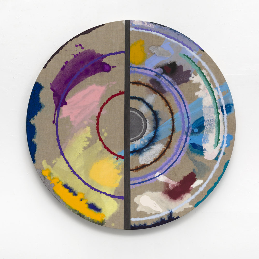 "PAMELA JORDEN   Cut Target , 2016, oil and graphite on linen, 52"" diameter"