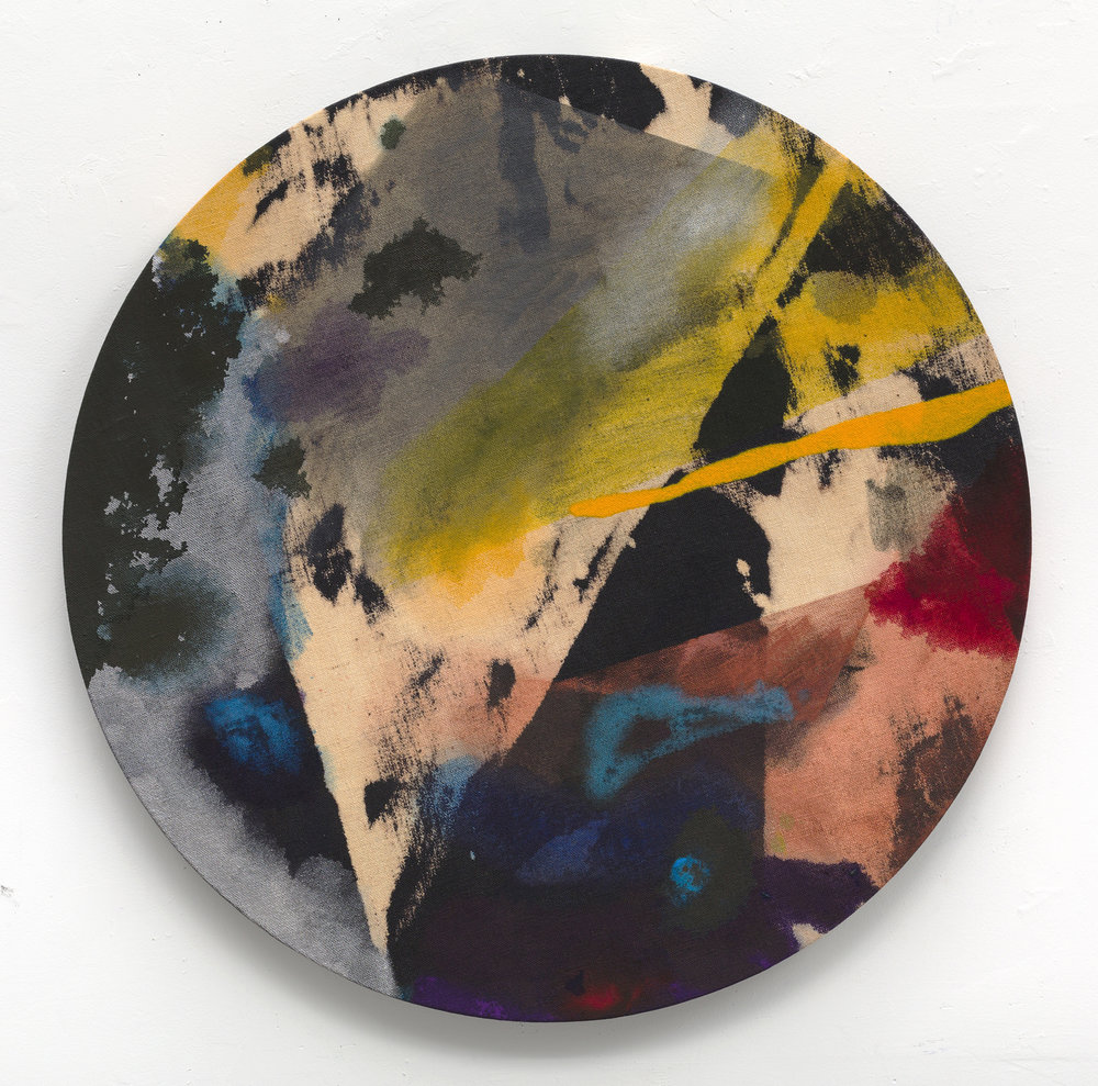 "PAMELA JORDEN   Phosphor,  2016, oil and bleach on linen, 30"" diameter"