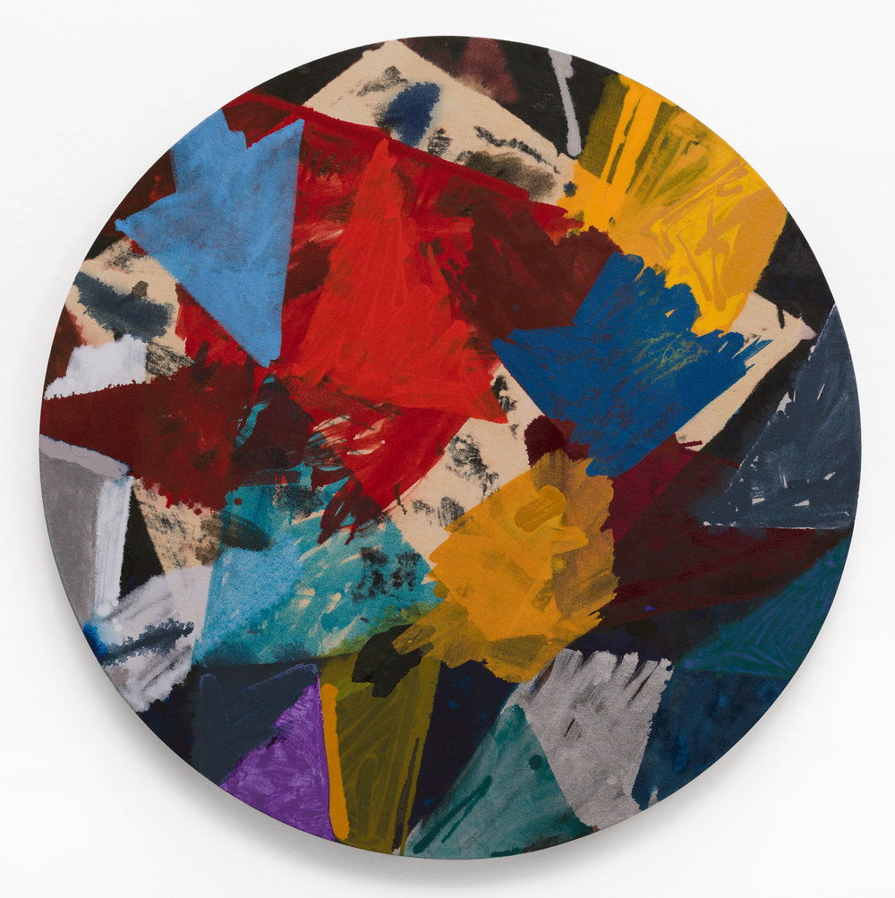 "PAMELA JORDEN   Shards,  2016, oil and bleach on linen, 46"" diameter"