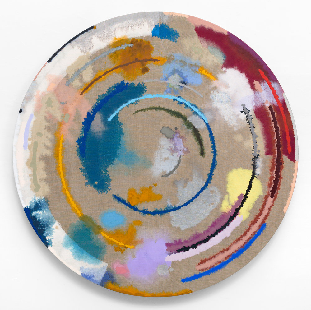 "PAMELA JORDEN   Untitled,  2016, oil on linen, 48"" diameter"