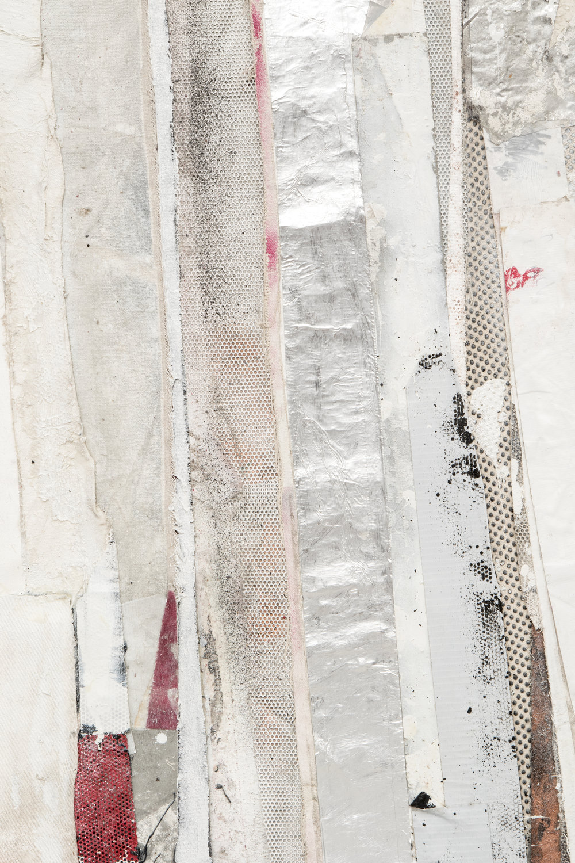 "RYAN WALLACE   (detail) Redactor 6 , 2015, enamel, acrylic, vinyl, rubber, concrete, plaster, aluminum tape, canvas on canvas, 72"" x 60"""