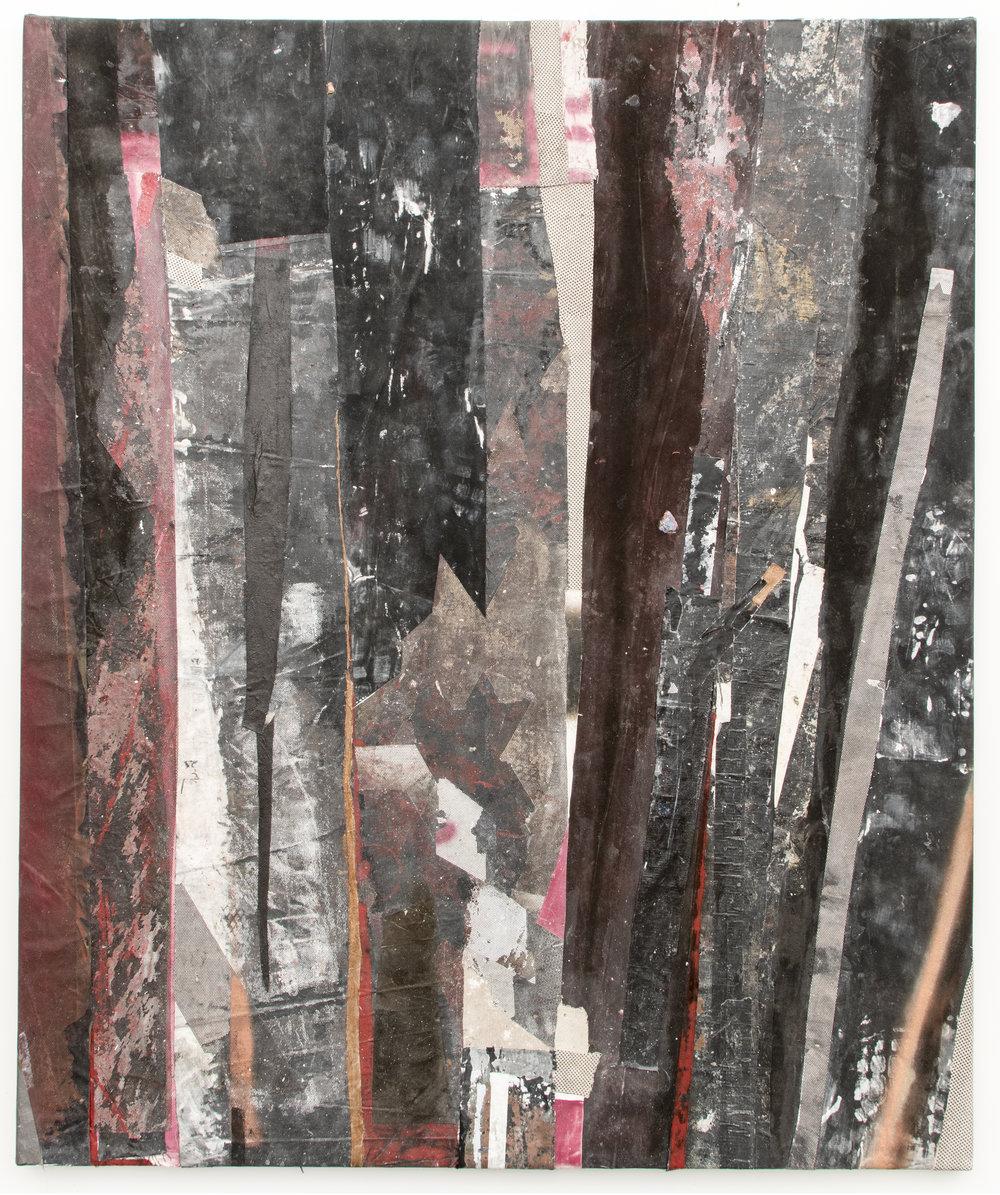 "RYAN WALLACE   Redactor 4 , 2015, enamel, acrylic, vinyl, rubber, concrete, plaster, aluminum tape, canvas on canvas, 72"" x 60"""