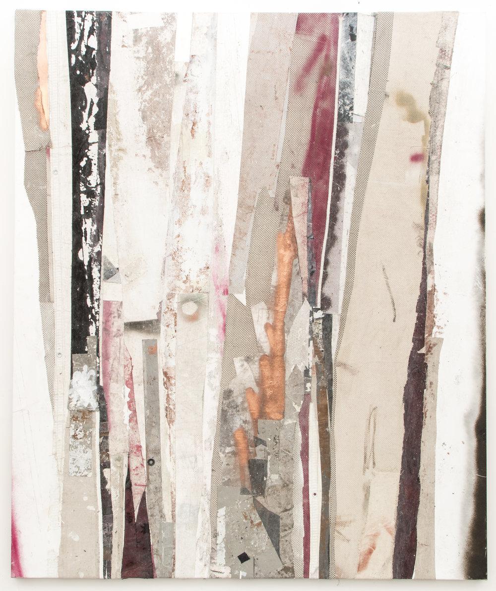 "RYAN WALLACE   Redactor 5 , 2015, enamel, acrylic, vinyl, rubber, concrete, plaster, aluminum tape, canvas on canvas, 72"" x 60"""