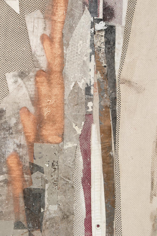 "RYAN WALLACE   (detail) Redactor 5 , 2015, enamel, acrylic, vinyl, rubber, concrete, plaster, aluminum tape, canvas on canvas, 72"" x 60"""