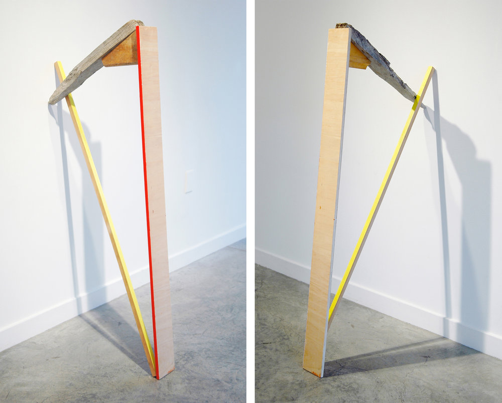 "KIRK STOLLER   Untitled (harp) , wood, acrylic and resin, 48"" x 23"" x 5"""