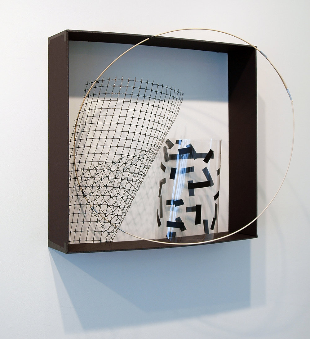 "ALICE CATTANEO   The piece in the box , 2013, foam board, plastic, tape, plastic netting, balsa wood, cable ties, 25"" x 24.75"" x 12"""