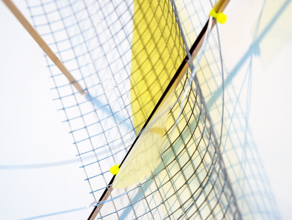 "ALICE CATTANEO   (detail) Untitled , 2013, iron netting, balsa wood, iron, yellow acetate, cable ties, wire, 37.5"" x 40"" x 17.5"""