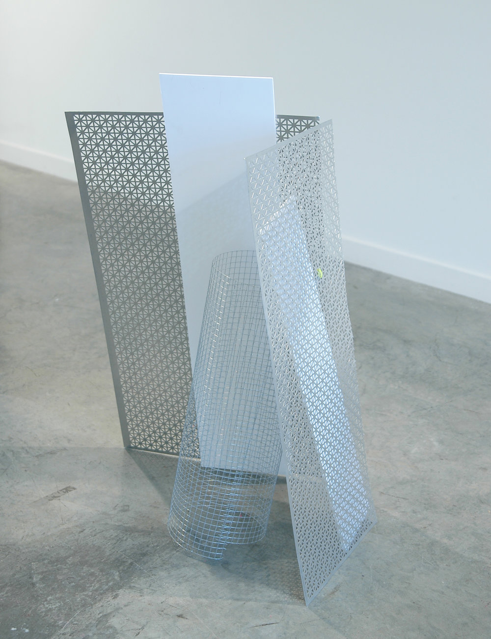 "ALICE CATTANEO   Forma cercata per non cercarla,  2013, foam board, iron netting, cable ties, perforated aluminium, 39"" x 22"" x 16"""