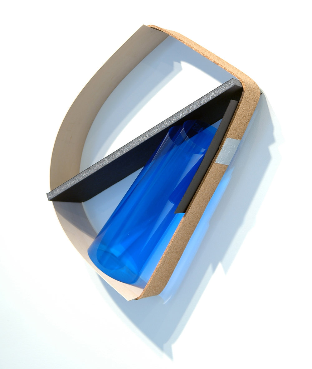 "ALICE CATTANEO   Ripetuto , 2013, cork, foam board, blue acetate, balsa wood, aluminium tape, paper, 18.5"" x 14"" x 5.5"""