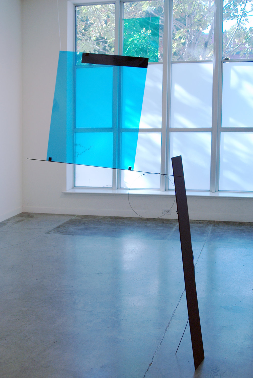 "ALICE CATTANEO   Untitled , 2013, blue and green acetate, foam board, tape iron, cable ties, 72"" x 41"" x 9"