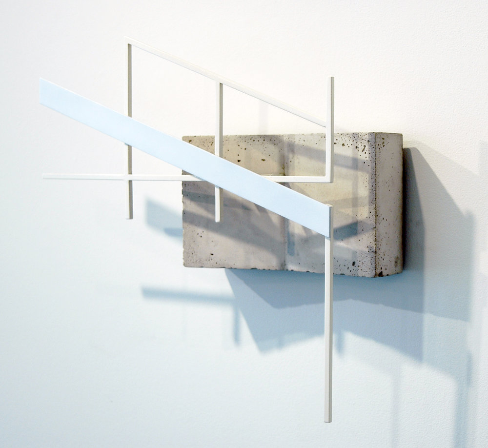 "JONATHAN RUNCIO  (side view)  Untitled , concrete, steel and enamel, 15.75"" x 17.25"" x 4.25"", 2013"