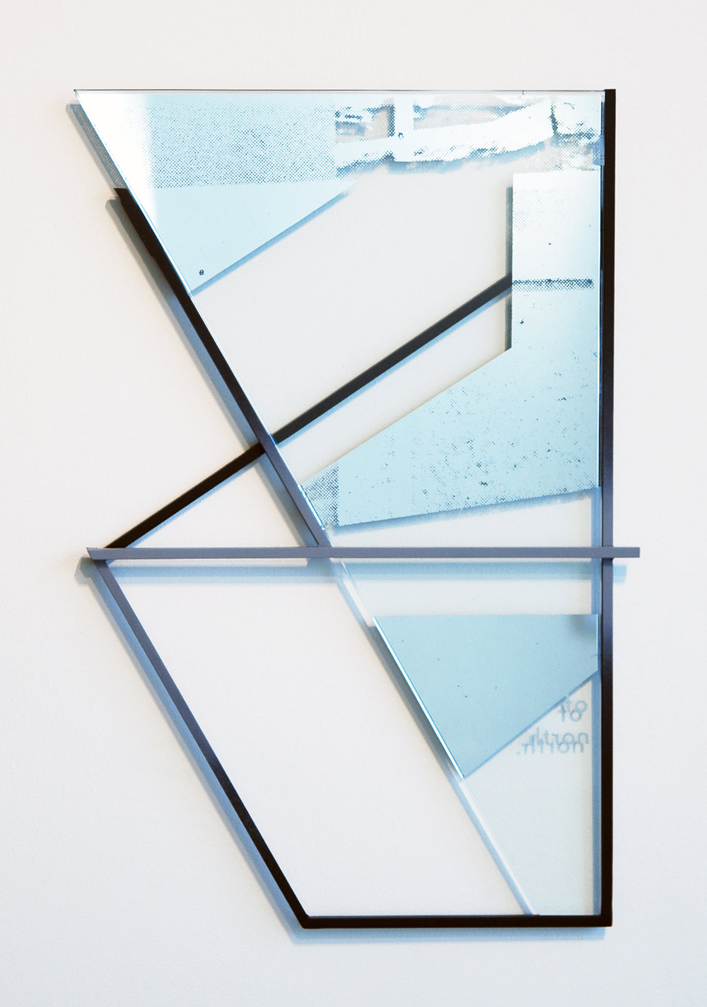 "JONATHAN RUNCIO   Untitled , mirror, screen-print, steel and paint, 19"" x 12.5"", 2013"