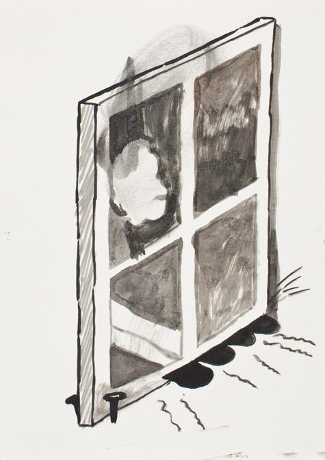 "CHRISTOPH ROßNER   Fenster  (Window), india ink on paper, 11.75"" x 8.25"", 2011"