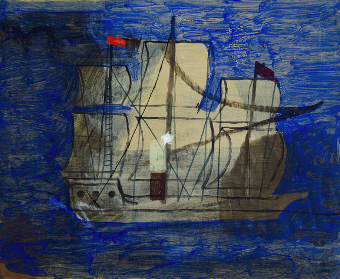 """CHRISTOPH ROßNER   Schiff  (Ship), mixed media on cardboard mounted to wood frame, 12.25"""" x 14.5"""", 2012"""