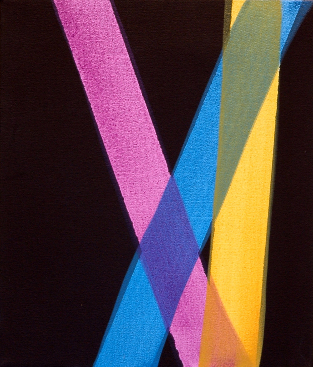 "AMANDA CURRERI   Untitled , acrylic and black gesso on dyed fabric, 14"" x 12"", 2012"