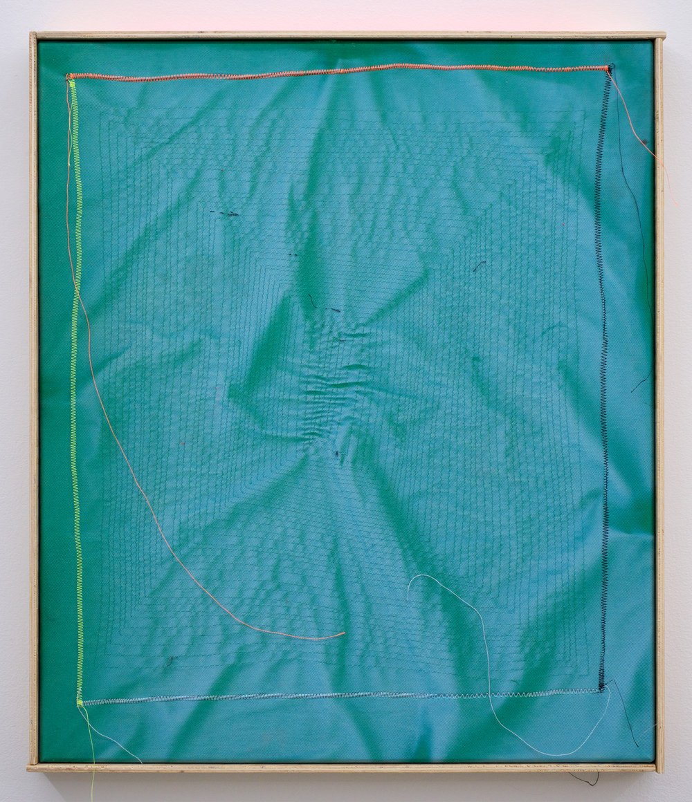 "CHRIS DUNCAN   Ghost Pattern #3 (Summer/Winter 2016) Six-Month Exposure/Oakland , 2017, sun, time and thread on fabric, 20 1/2"" x 17 3/8"""